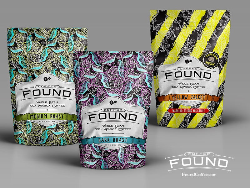 Found Coffee Lineup packaging product design design mockup graphic design coffee bag coffee