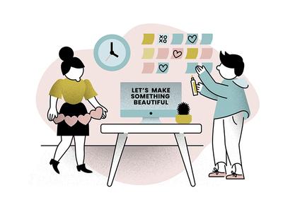 Let's Make Something Beautiful Together teamwork collaboration designer uiuxdesign productdesign cactus agency website illustration valentines day artdeco