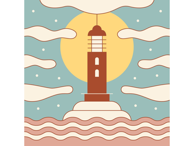 Lighthouse gameart sky pastel colors soft colors color palette colorful design simple design life is strange landscape illustration sea vintage symmetrical graphic design geometric illustration lighthouse landscape illustration minimal