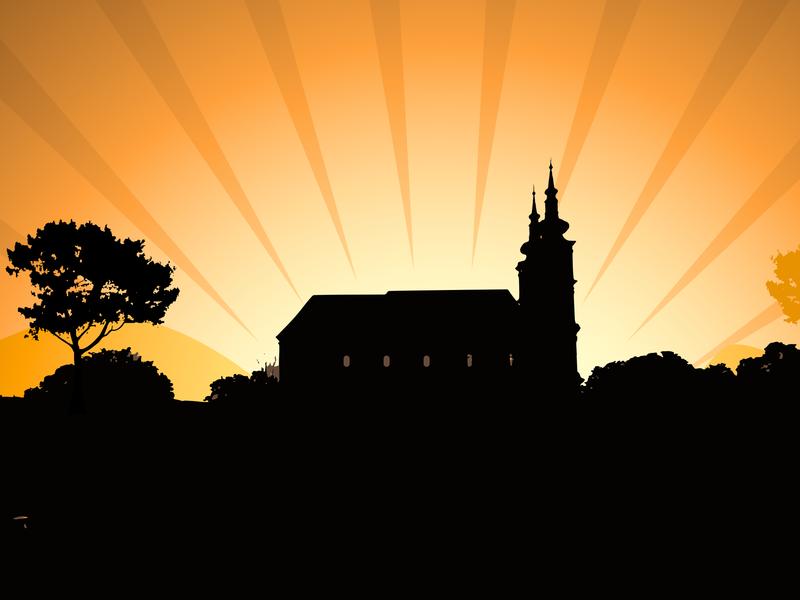 Church in the village sunset illustration foto