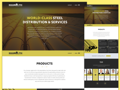 Mammoth Carbon Website yellow clean one-pager website industrial