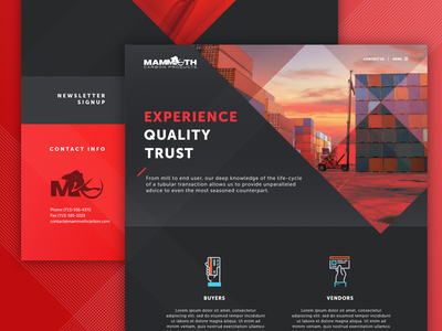 Mammoth Carbon Redisign construction ui design industrial website clean