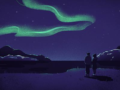 Aurora Borealis arctic north pole stars night couple landscape winter norway northern lights aurora
