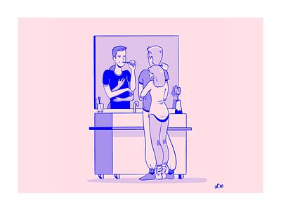 Rountine love routine bathroom couple love illustration