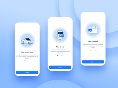 Hospital admission App log in onboarding ios patient health app mobile design ux design