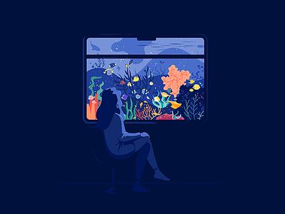 Traveling window train flatvector ocean sea