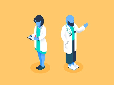 Doctors in Isometry isometry aid design vector illustration flat illustration charachter design