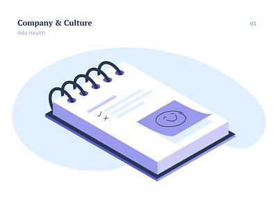 Company & Culture illustration postit culture company flat notebook notepad design flat icon vector art isometry flat illustration vector illustration