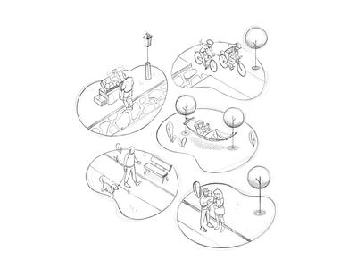 Sketching healthy people design park sketchbook isometry health neighborhood people illustration illustrator procreate sketch swag