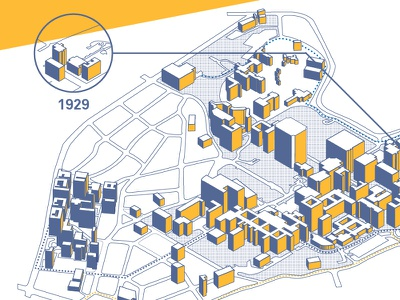 Map of UCLA map isometric building flat ucla campus gold blue