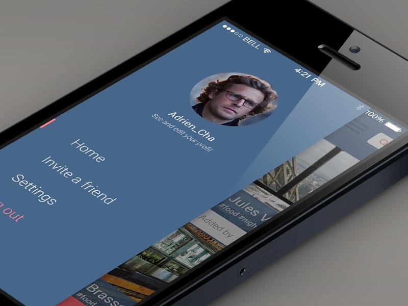 CityTips - SideBar sidebar menu home log avatar blue
