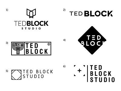 Ted Block Studio - logo propositions project propositions white black photography photo film studio design logotype logo