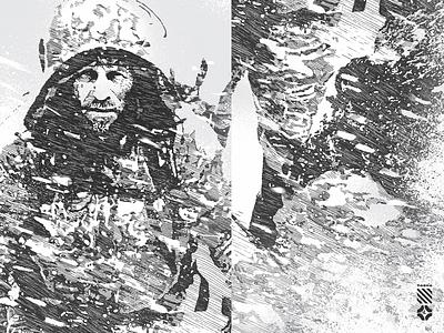 Zvvyciezcy III closeups goverdose white black photoshop fineliner drawing hand hand-made closeup illustration