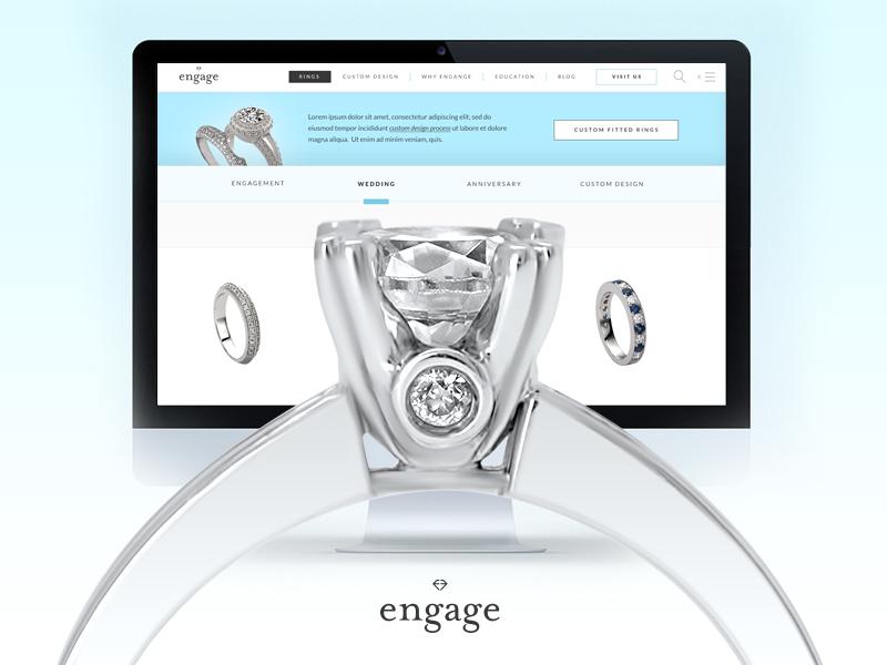Engage Diamonds website strategy rings jewelry engagement diamonds clean design web ux ui