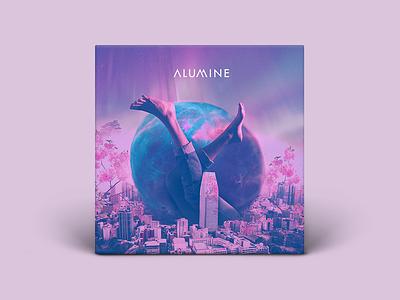 Alumine Album cover composition bands branding galaxy futurist purple art direction music album cover