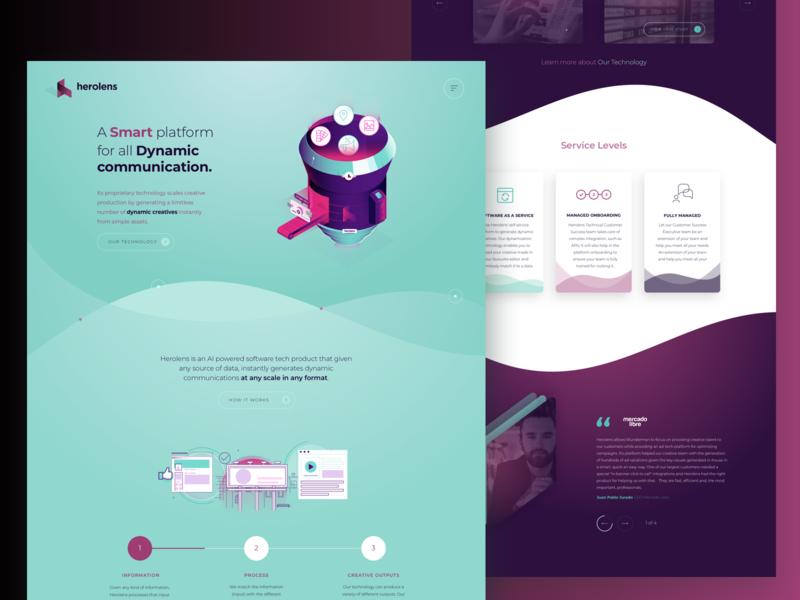 Herolens Marketing Website ads ux ui design website engine dynamic content platform software herolens