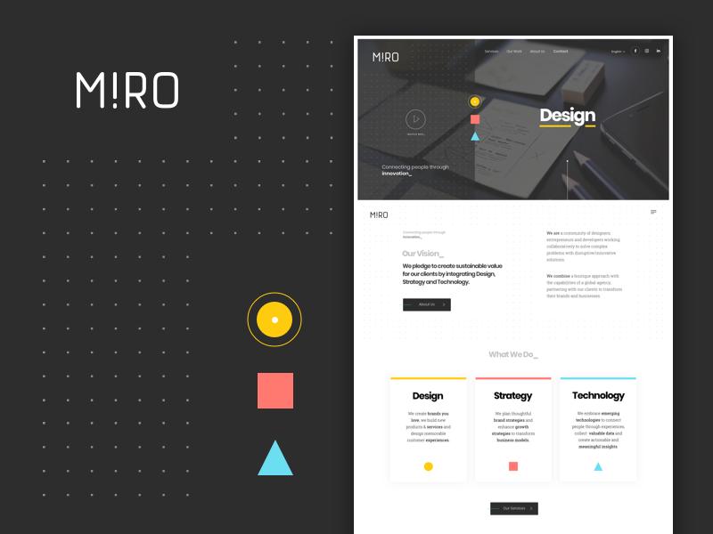 Landing Page innovation grid ui technology geometry shapes rebranding design studio landing agency