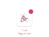 1 Dribbble Invite - Happy New Year Icon