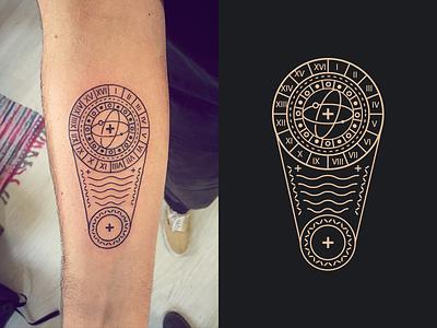 Tattoo Illustration Frenchship star simple minimal ink circle black space cross tattoomydesign line illustration tattoo