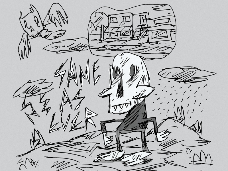 Same As Ever kids ink cartoon art sketch canada landscape black and white illustration drawing skull