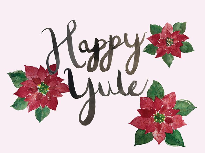 Happy Yule! (◕‿◕✿) hand painted illustrator watercolor red flower poinsettia happy yule christmas yule