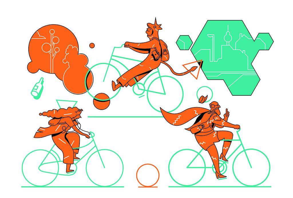 Cyclecity berlin digital illustration vector ui branding competition character design design graphic novel direction comicsart editorial illustration digitalboaz illustration