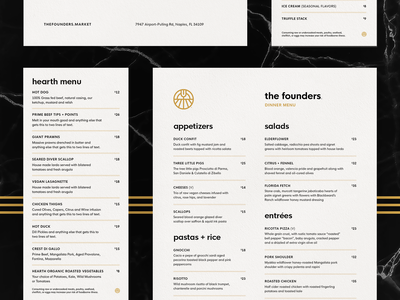 The Founders Menus layout typography logo design brand design farm printing bistro restaurant menu branding print