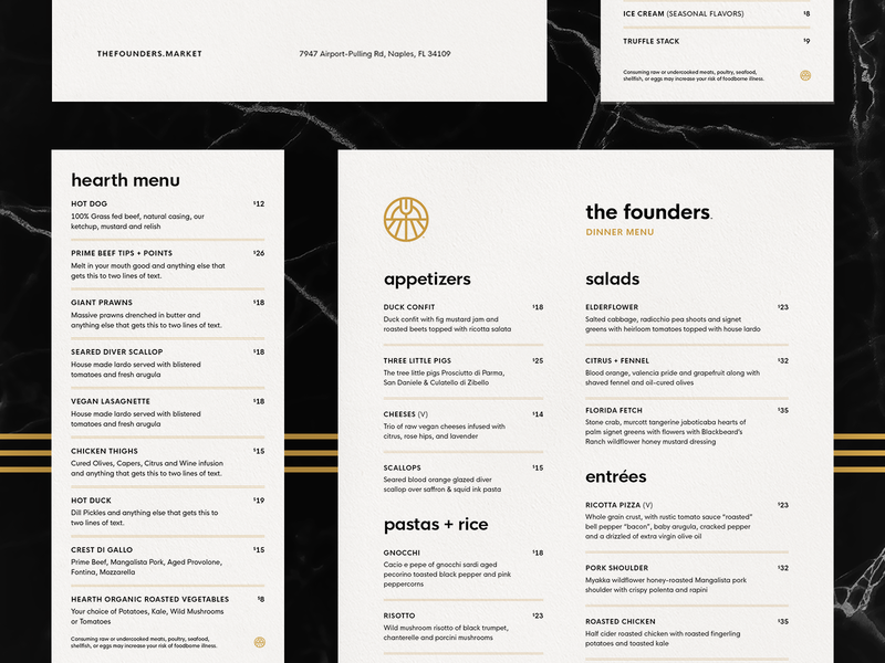 The Founders Menus