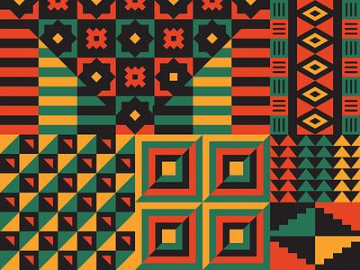 Black Joy Parade illustration shapes geometric yellow red green black black joy parade oakland kente patterns parade black history month pattern lyft