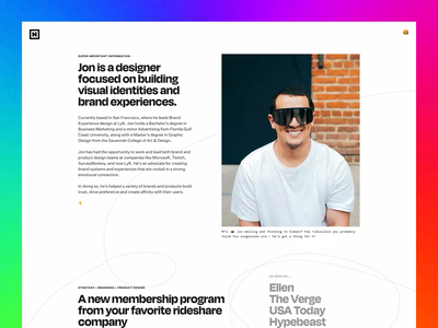2020 Portfolio Update brand identity animation visual design freelance studio identity design brand design case studies case study interaction rainbow color brand experience product design branding update website portfolio