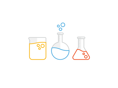 Science Icons focus lab science test tube beaker bubbbles icon illustration education chemistry