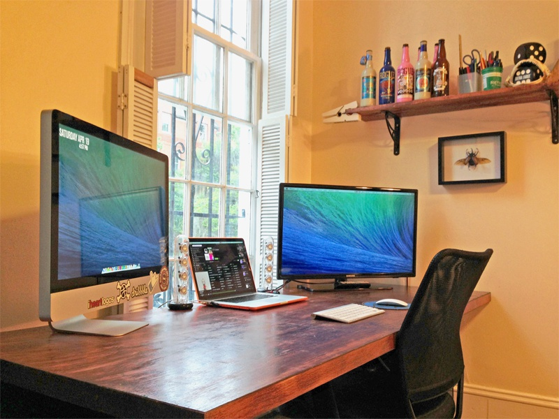 Workspace workspace imac macbook pro rhino beetle harmon kardon pens pencils rogue beer shark teeth dice extra large
