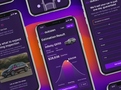 Autozen Product & Brand Experience app product user experience ux interface designer user interface colors relaxing zen gradient brand design automotive auto interface design brand visual design product design branding brand experience