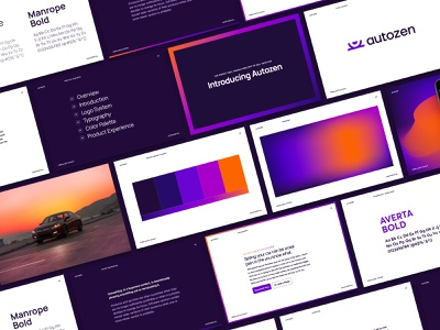 Autozen Brand Guidelines color palette icon design logo designer logo design gradient typography documentation brand branding visual identity design identity design visual identity vehicle sell car automotive auto