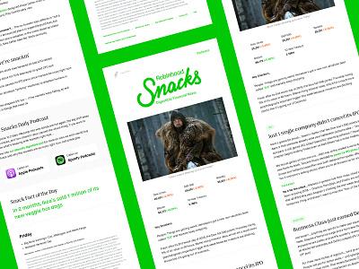 Snacks Newsletter Refresh email feather green news financial fintech update typography refresh newsletter robinhood snacks