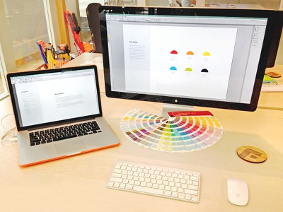 Pantone Time! focus lab style guide pantone branding brand guidelines colorful mouse nerf keyboard coaster colors workspace