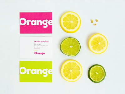 Orange focus lab branding collateral business cards lime lemon seeds photography bright fun colorful orange