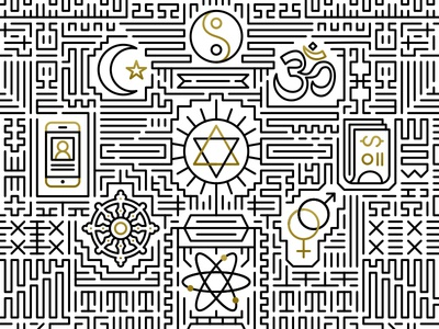 Christian Life Conference illustration line work icons iconography icon design star science print religion moon phone sex