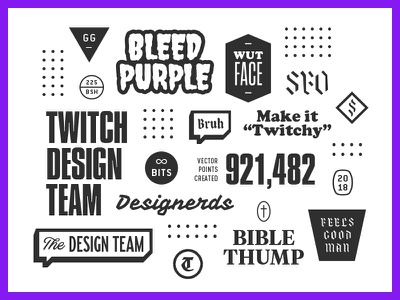 Twitch Design Team stuff badges trinkets blackletter numbers bleed studio team design twitch