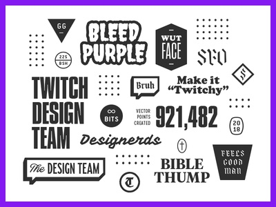 Twitch Design Team stuff badges trinkets blackletter numbers bleed studio team design twitch