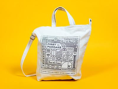 SurveyMonkey Tote Bag team tote surveymonkey screenprint random illustration fun offsite product design bag swag print