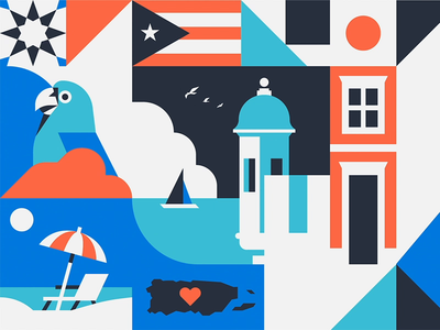 Puerto Rican Day Parade pattern animated video shapes vector lyft new york nyc puerto rico collaboration wrap car illustration