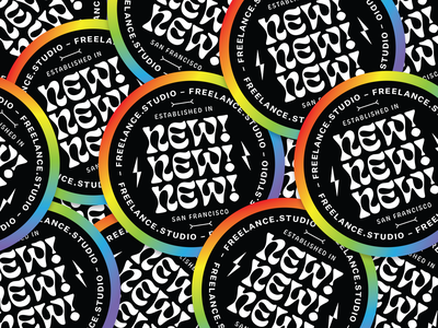 ✨NEW NEW NEW ✨ colorful rainbow studio san francisco lighting bolt bones sticker typography identity rebrand design studio brand identity stickers brand design branding