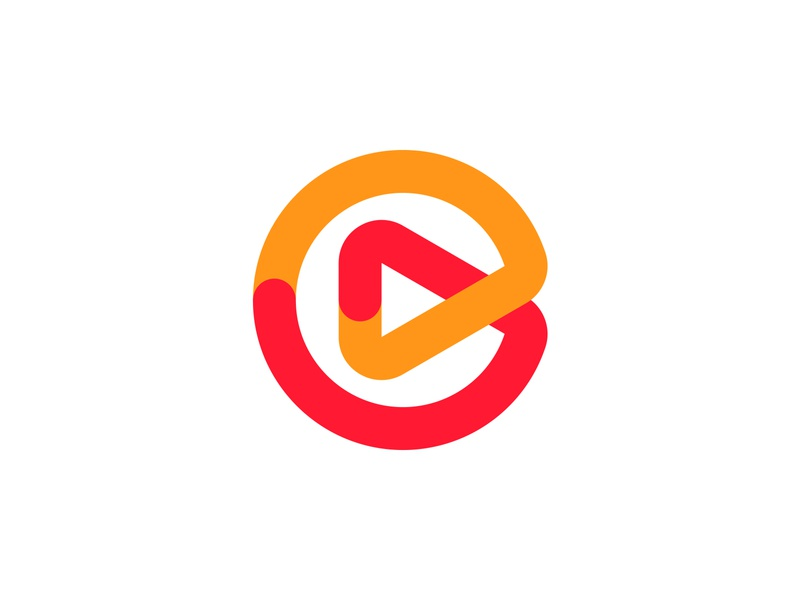 C + play | Chonka.tv logo option #1 monogram logo branding technology colorful minimalist smart modern yellow orange red tv media video merge connect overlay sync forward play button letter c logo icon symbol monogram logo designer logo design