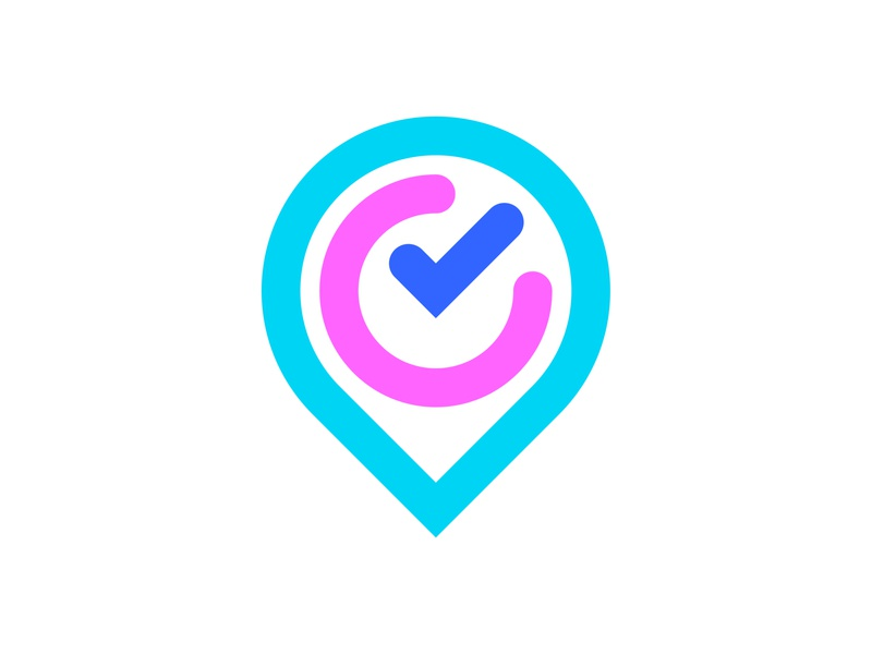 Location pin, clock, checkmark [unused/available] colorful blue pink purple technology futuristic branding logo designer logo design logo smart modern minimal time management to do meeting task travel tracking management speed tick checkmark time clock location pin