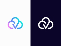Cloud, letter V, checkmark | Vmship Logo Design