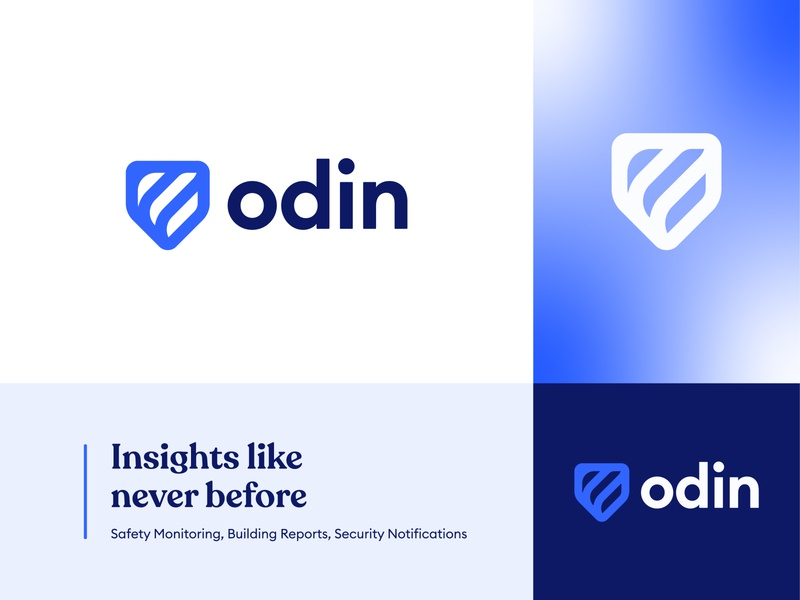 Odin futuristic insights norse god protection futuristic minimal modern blue gradient connect connection link data technology tech safety security logo design concept logo shield