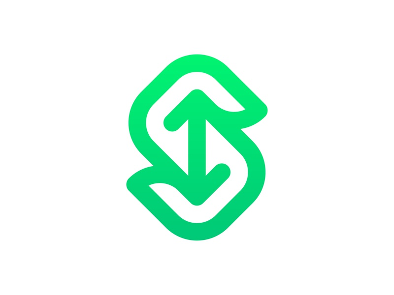 Letter S, arrows | Splitskiez Logo Design action movement up down rounded fluid dynamic bold smooth smart negative space modern minimalistic monogram initials green gradient colorful logo designer logo design connection technology tech merge share arrow letter s