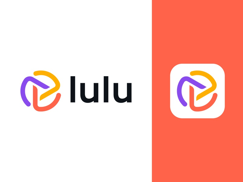 Lulu bold dynamic connection connect video communication app yellow orange purple video media play button loop circle energy letter l monogram modern futuristic colorful branding technology logo designer logo design