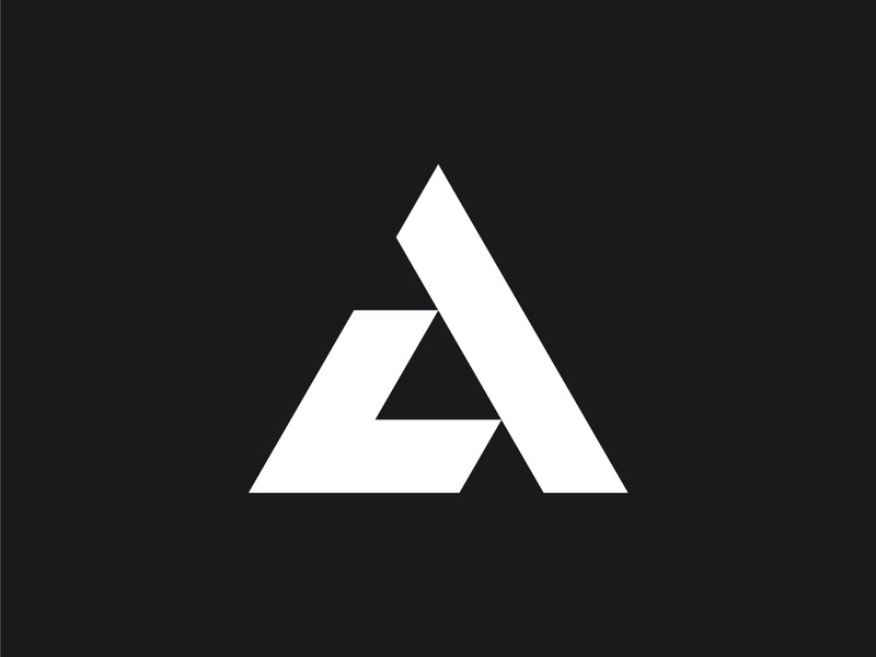 LA design branding logo designer logo design minimalist monogram logo dynamic strong bold negative space black and white triangular triangle a l letter logo